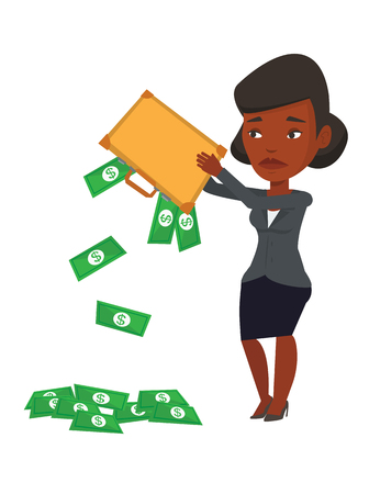 emptying: Africand epressed bankrupt shaking out money from her briefcase. Despaired bankrupt businesswoman emptying a briefcase. Bankruptcy concept. Vector flat design illustration isolated on white background