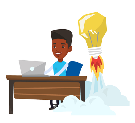 Businessman working on a laptop in office and idea bulb taking off behind him. Man having business idea. Successful business idea concept. Vector flat design illustration isolated on white background. Ilustracja