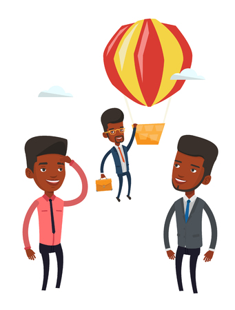 away travel: Young smiling african employee flying away in a balloon. Hardworking employee hanging on a hot air balloon. Happy employee got promoted. Vector flat design illustration isolated on white background.