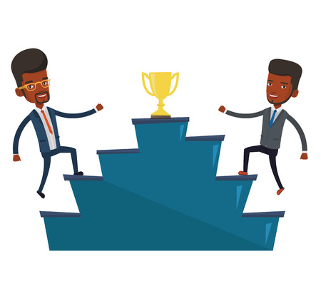Two businessmen competing to get golden trophy. Two competitive businessmen running up for the winner cup. Business competition concept. Vector flat design illustration isolated on white background. Illustration