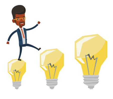hopping: African-american businessman jumping on idea bulbs. Smiling businessman in a suit hopping onto idea bulbs. Concept of business idea. Vector flat design illustration isolated on white background.