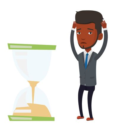 African businessman looking at hourglass symbolizing deadline. Man worrying about deadline terms. Time management and deadline concept. Vector flat design illustration isolated on white background.