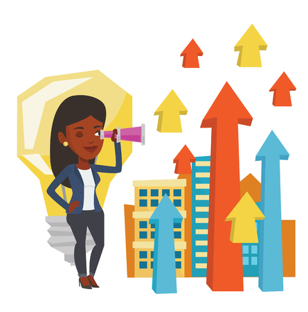 African woman looking through spyglass at arrows going up and idea bulb. Business woman looking for creative idea. Business idea concept. Vector flat design illustration isolated on white background. Illustration