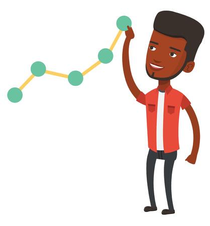 lift up: African-american businessman pulling up a business chart. Businessman looking at chart going up. Businessman lifting a business chart. Vector flat design illustration isolated on white background. Illustration