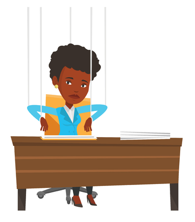 puppeteer: Businesswoman hanging on strings like a marionette. Woman marionette on ropes sitting in office. Emotionless marionette woman working. Vector flat design illustration isolated on white background. Illustration