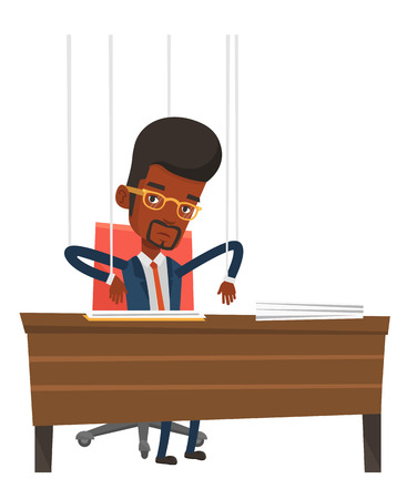 puppeteer: Businessman hanging on strings like a marionette. Businessman marionette on ropes sitting in office. Emotionless marionette man working. Vector flat design illustration isolated on white background.