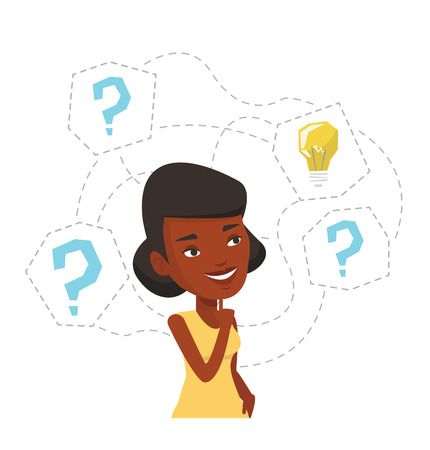 businesswoman standing: African-american woman having business idea. Businesswoman standing with question marks and idea bulb above head. Business idea concept. Vector flat design illustration isolated on white background.