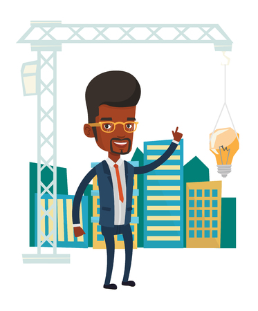 town planning: African-american man pointing at idea bulb hanging on crane. Architect having idea in town planning. Concept of new ideas in architecture. Vector flat design illustration isolated on white background.