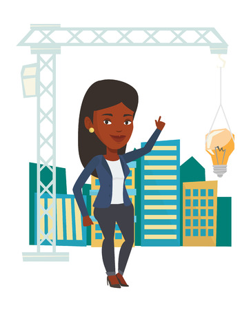 town planning: African woman pointing at idea light bulb hanging on crane. Architect having idea in town planning. Concept of new ideas in architecture. Vector flat design illustration isolated on white background.