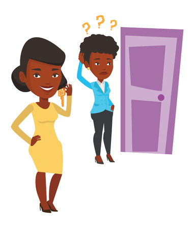 African-american businesswoman showing key on the background of woman looking at door. Concept of making the right decision in business. Vector flat design illustration isolated on white background.