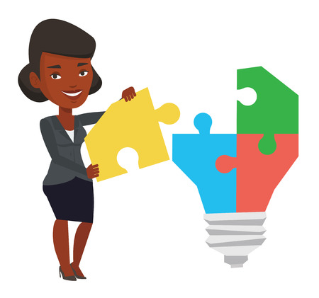 completing: African-american businesswoman completing light bulb made of puzzle. Woman inserts the missing puzzle in light bulb. Business idea concept. Vector flat design illustration isolated on white background