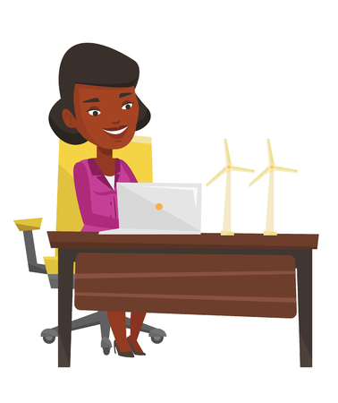 An african-american worker of wind farm working on a laptop. Engineer projecting wind turbine. Smiling worker with model of wind turbine. Vector flat design illustration isolated on white background. Illustration