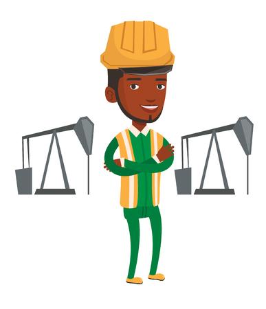 trabajador petroleros: Un trabajador petrolero africano en uniforme y casco. Aceite de los trabajadores de pie con los brazos cruzados. Aceite de los trabajadores de pie en el fondo del gato de la bomba. Vector de diseño plano ilustración aislado sobre fondo blanco.