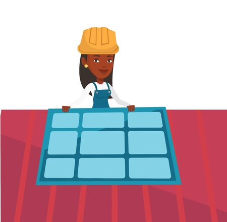 flat roof: African-american woman installing solar panels on roof. Technician in hard hat checking solar panel on roof. Woman adjusting solar panel. Vector flat design illustration isolated on white background.