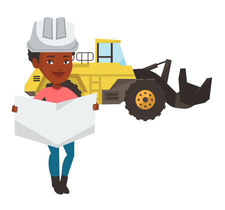 African-american engineer in helmet watching a blueprint. Young woman with engineer blueprint. An engineer in hard hat holding a blueprint. Vector flat design illustration isolated on white background Ilustracja
