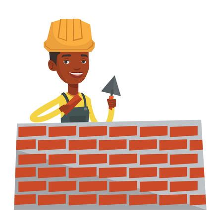 Afro-Amerikaanse bicklayer werken met een spatel en een baksteen. Jonge vertrouwen metselaar in uniform en bouwvakker. Metselaar op het werk. Vector platte ontwerp illustratie op een witte achtergrond.