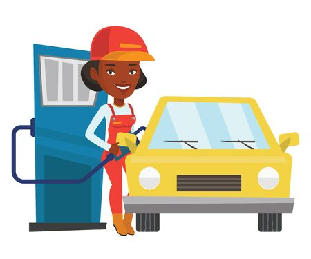 filling station: African-american gas station worker refueling a car. Gas station worker filling up fuel into car. Worker in workwear at the gas station. Vector flat design illustration isolated on white background.