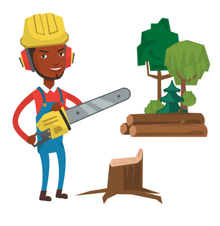 tree works: African-american lumberjack holding chainsaw. Smiling lumberjack in workwear, hard hat and headphones. Young lumberjack with chainsaw. Vector flat design illustration isolated on white background. Illustration