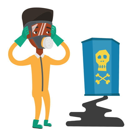 radioactive sign: African-american man looking at leaking barrel with radioactive sign. Man in respirator and radiation protective suit clutching his head. Vector flat design illustration isolated on white background. Illustration