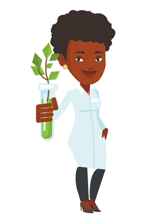 ilustration: Scientist holding test tube with plant. Scientist analyzing plant in test tube. Scientist in medical gown showing test tube with plant. Vector flat design illustration isolated on white background. Illustration