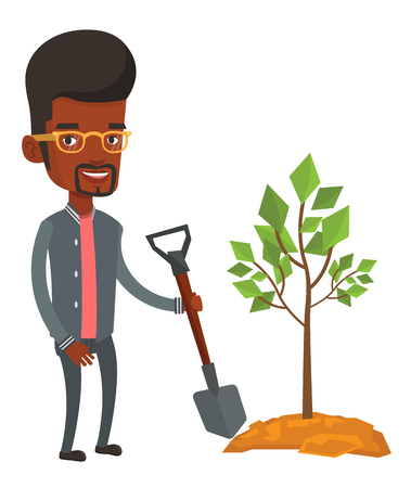 planted: An african man plants a tree. Man standing with shovel near newly planted tree. Young man gardening. Environmental protection concept. Vector flat design illustration isolated on white background.
