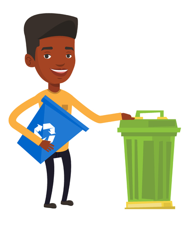 dumpster: African-american man holding recycling bin while standing near a trash can. Young man carrying recycling bin. Waste recycling concept. Vector flat design illustration isolated on white background.