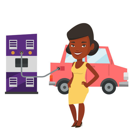 African woman charging electric car at charging station. Woman standing near power supply for electric car. Charging of electric car. Vector flat design illustration isolated on white background.