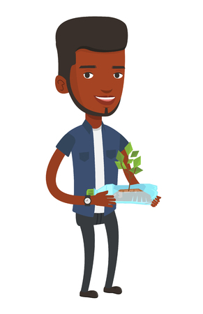 African-american man holding in hands plastic bottle with plant growing inside. Young man holding plastic bottle used as plant pot. Vector flat design illustration isolated on white background. Illustration