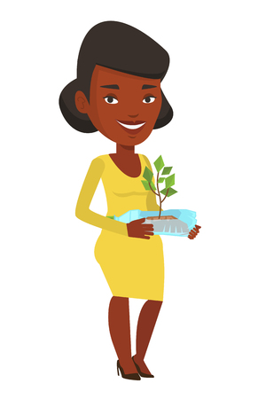hands holding plant: African-american woman holding in hands plastic bottle with plant growing inside. Young woman holding plastic bottle used as plant pot. Vector flat design illustration isolated on white background. Illustration