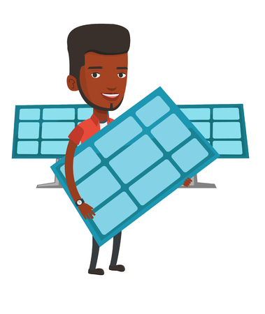 African-american worker of solar power plant. Young man holding solar panel in hands. Man with solar panel in hands. Green energy concept. Vector flat design illustration isolated on white background.