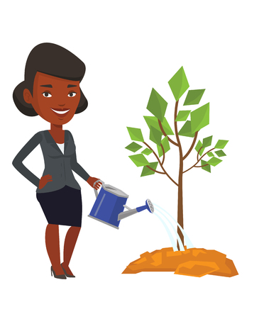 An african-american friendly woman watering tree. Gardener with watering can. Young woman gardening. Concept of environmental protection. Vector flat design illustration isolated on white background.