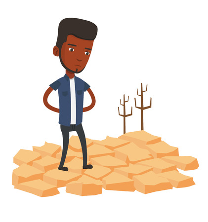 African man standing in the desert. Frustrated man standing on cracked earth in the desert. Concept of climate change and global warming. Vector flat design illustration isolated on white background. Stock Illustratie