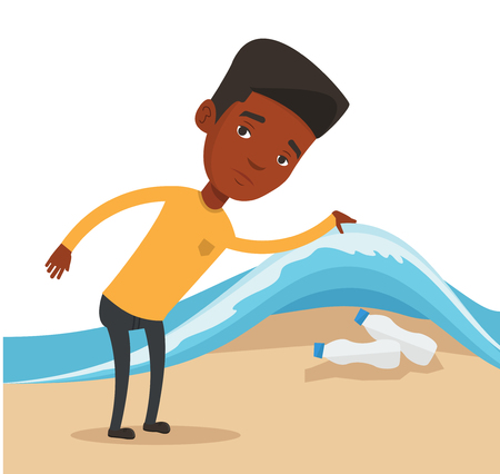 sea pollution: An african man showing plastic bottles under water of sea. Man collecting plastic bottles from water. Water and plastic pollution concept. Vector flat design illustration isolated on white background.