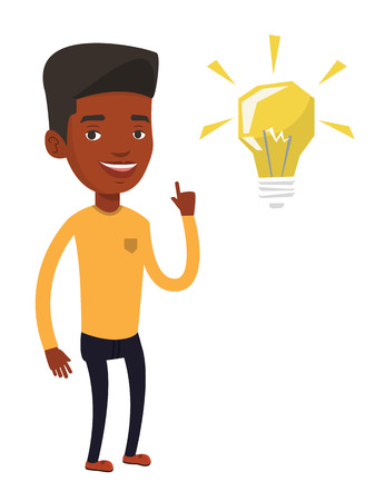 black man thinking: An african-american student pointing his finger up at the idea bulb. Excited student with bright idea bulb. Student having a great idea. Vector flat design illustration isolated on white background. Illustration