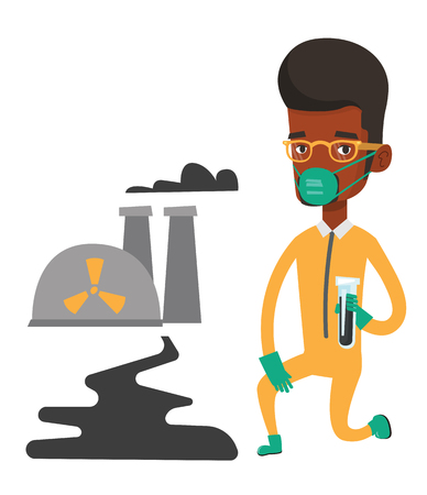 African scientist in gas mask and radiation protective suit holding test-tube with black liquid on the background of nuclear power plant. Vector flat design illustration isolated on white background.