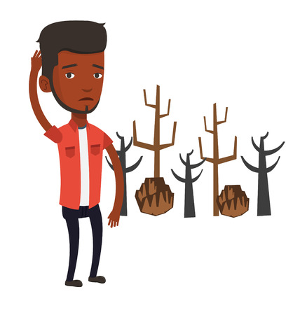 An african-american young sad man scratching head on the background of dead forest. Dead forest caused by global warming or wildfire. Vector flat design illustration isolated on white background. Illustration