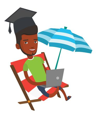 Graduate lying in chaise lounge. Graduate in graduation cap working on a laptop. Graduate studying on beach. Online education concept. Vector flat design illustration isolated on white background. Illustration