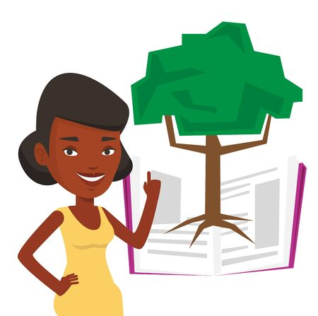 African-american student standing on the background of tree growing from open book. Young cheerful student pointing at tree of knowledge. Vector flat design illustration isolated on white background.