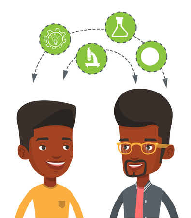 black man thinking: African students brainstorming. Two students sharing with the ideas. Students studying together and arrows with school icons between them. Vector flat design illustration isolated on white background. Illustration