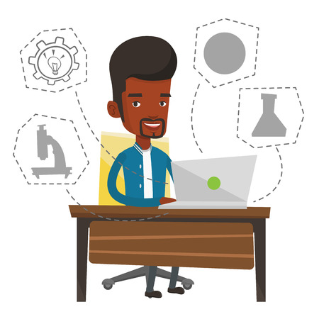 using laptop: African-american man working on a laptop and writing notes. Student sitting at the table with laptop. Student using laptop for education. Vector flat design illustration isolated on white background. Illustration