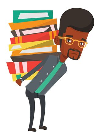 African student carrying heavy pile of books on his back. Upset student walking with huge stack of books. Student holding pile of books. Vector flat design illustration isolated on white background. 向量圖像