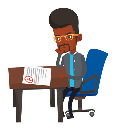 African student looking at test paper with bad mark. Student disappointed test with F grade. Student dissatisfied with the test results. Vector flat design illustration isolated on white background.