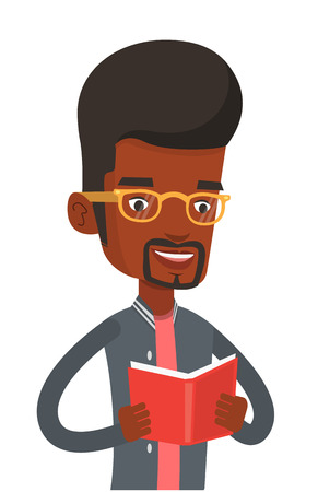 učebnice: African-american cheerful student reading a book and preparing for exam. Smiling student reading a book. Student holding a book in hands. Vector flat design illustration isolated on white background. Ilustrace