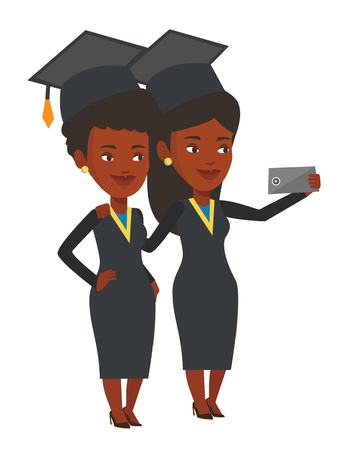 woman cellphone: African-american graduates making selfie. Graduates in cloaks and graduation caps making selfie. Graduates making selfie with cellphone. Vector flat design illustration isolated on white background.