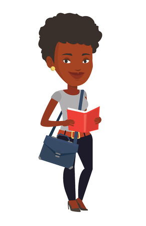 African-american student reading a book. Cheerful student reading a book and preparing for exam. Student standing with book in hands. Vector flat design illustration isolated on white background
