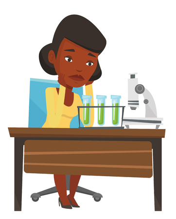 African student clutching head after failed experiment in chemistry class. Disappointed student carrying out experiment in chemistry class. Vector flat design illustration isolated on white background Иллюстрация