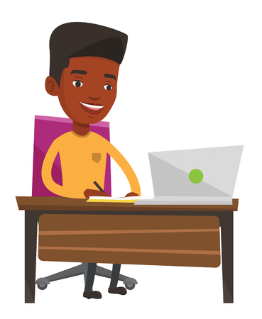 using laptop: African-american man working on laptop and writing notes. Student sitting at the table with laptop. Student using laptop for education. Vector flat design illustration isolated on white background.