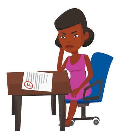 African Student an Testpapier mit schlechten Markierung suchen. Studenten enttäuscht Test mit f-Grad. Studenten unzufrieden mit den Testergebnissen. Vector flache Design-Darstellung auf weißem Hintergrund. Vektorgrafik