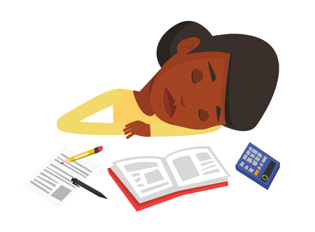 Fatigued african student sleeping at the desk with books. Tired student sleeping after learning. Woman sleeping among books at the table. Vector flat design illustration isolated on white background.