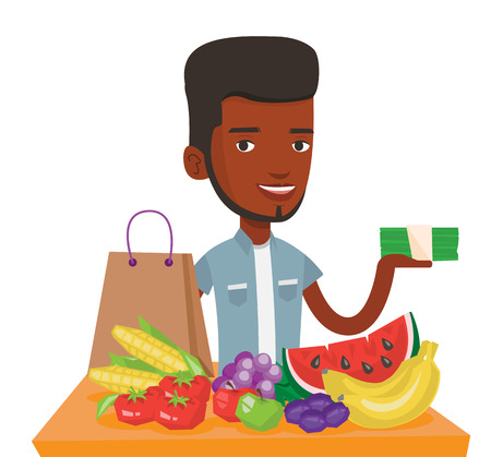 African shopper standing at the table with grocery purchases. Shopper holding money in hand in front of table with grocery purchases. Vector flat design illustration isolated on white background.